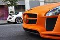 Picture Design, white Mercedes, tuning, white, FAB, SLS, double, orange, orange, tuning, Mercedes