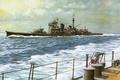 Picture Navy, ship, art, Japanese, WW2, military, cruiser, cruiser, Haguno, IJN