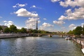 Picture bridge, river, France, France, Paris, channel, Eiffel Tower, sky, river, clouds, Eiffel Tower, bridge, clouds, ...