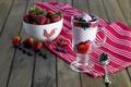 Picture berries, strawberry, dessert, napkin, blueberries, yogurt
