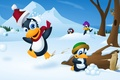 Picture vector, snow, snowballs, winter, penguins, trees, cartoon