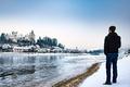 Picture winter, snow, man, castle, Austria, looking, Upper Austria, Ottensheim, Urfahr-Umgebung, River Danube