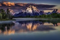 Picture sunset, lakes, snow, mountains, winter, landscape
