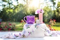 Picture pitcher, basket, berries, blueberries, Cup, table, vase, flowers
