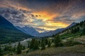 Picture forest, mountains, sunset. valley