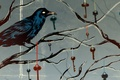Picture Crow, branches, keys, ribbons