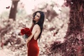 Picture autumn, leaves, girl, bouquet, makeup, red dress, red roses, Red Rose, Alessandro Di Cicco