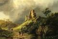 Picture picture, clouds, storm, the ruins, people, travelers, Koekkoek Barend Cornelis, rocks, stream, stones