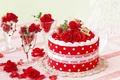 Picture flower, decoration, joy, flowers, berries, table, mood, holiday, glass, tree, Christmas, roses, petals, glasses, strawberry, ...