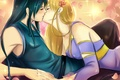 Picture tielss, art, guy, flower, anime, pair, petals, girl, kiss