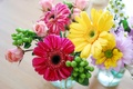 Picture yellow, pink, roses, bouquet, spring, colorful, gerbera, Roses, Bouquets, Gerberas