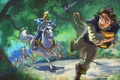 Picture road, forest, figure, cartoon, chase, armor, art, arrows, riders, spears, Tangled, Flynn, Flynn, Walt Disney, ...