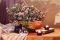 Picture basket, candles, asters