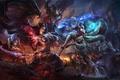 Picture wings, art, magic, battle, Ahri, Morgana, girls, League of Legends
