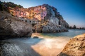 Picture sea, rocks, home, Italy, Manarola, Cinque Terre, The Ligurian coast