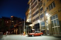 Picture red, 2109, lada, Lada, yard, the evening, high-rise building, Lada, tuning, stance