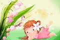 Picture girl, children's, Lily of the valley, clearing, art