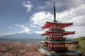 Picture Fuji, mountain, the volcano, Japan, Fujiyoshida, Mount Fuji, panorama, Fuji, Japan, pagoda, Sakura, Chureito Pagoda, ...