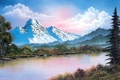 Picture forest, the sky, water, clouds, snow, trees, landscape, mountains, branches, lake, picture, painting, the bushes, ...