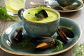 Picture dill, peas, parsley, dill, puree soup with mussels, puree soup with mussels, greens, peas, the ...