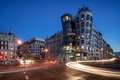 Picture the building, street, road, home, The Dancing House, lights, the evening, Prague, Czech Republic, lights, ...