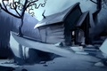 Picture tree, painted landscape, house, night, snow, art, forest