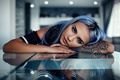 Picture look, girl, hair, makeup, piercing, tattoo, hairstyle, beautiful, painted, Alessandro Di Cicco, Soft Blue