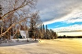 Picture Dawn, Blue sky, North wood, Winter, Ice Lake, Snow, Cold beautiful scenery, Canada, Nature, Clouds, ...