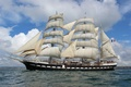 Picture france, ship, sea, sailboat, ocean, three masted, large sailboat, brest, belem, Sail