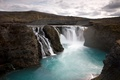 Picture waterfall, gorge, lake nature, Iceland
