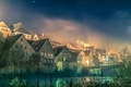 Picture lights, bridge, night, fog, home, river