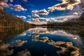Picture lake, landscape, the sky, clouds, trees, forest