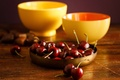 Picture table, bowls, Wallpaper from lolita777, pair, still life, fruit, food, yellow, cherry