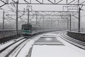 Picture train, snow, power lines, train