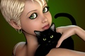 Picture haircut, girl, cat, black