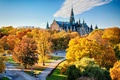 Picture Cathedral, Park, the sky, trees, autumn, the city