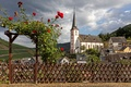 Picture clouds, landscape, flowers, mountains, the fence, field, home, Germany, Church, Sunny, forest, the bushes, wicket, ...