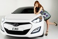 Picture look, girl, background, Girls, Asian, Hyundai, white car