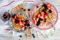 Picture cakes, blueberries, waffles, berries, food, jam, BlackBerry, strawberry