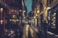 Picture shops, night, lamps, people, Paris, sidewalk, cityscape, walking, France, urban scene, street, everyday life