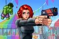 Picture eyes, look, girl, face, Park, gun, toy, red, amusement, hulk, Black Widow, marvel comics, The ...