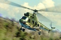 Picture art, helicopter, painting, Mi-2