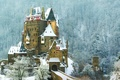 Picture forest, snow, mountains, castle, Germany, slope, ELTZ, Wierschem