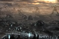 Picture monsters, light, mountains, art, people, spears, ruins, battle, plain, the sky, giants