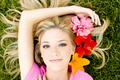 Picture blonde, look, face, flowers, Girl