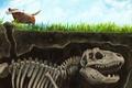 Picture dog, earth, skeleton, bone, art, dinosaur, grass