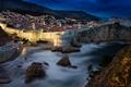 Picture sea, mountains, night, lights, rocks, home, fortress, Croatia, Dubrovnik