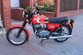 Picture red., FS-350, motorcycle, paving slabs, Yard