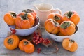 Picture berries, dishes, Board, pitcher, still life, orange, persimmon