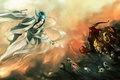 Picture skull, magic, Art, the demon, ghosts, girl, sword, the opposition